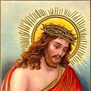 Vintage Post Card Easter Greetings Christ w/Crown of Thorns
