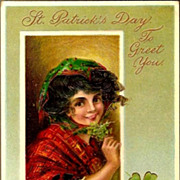 Vintage Post Card St Patrick's Day Greetings Lady with Shamrocks