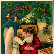 Vintage Post Card Christmas Greetings Santa and Angel with Bells and Toys