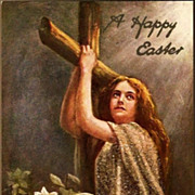 Vintage Post Card Tucks Easter Greeting Lady, Cross and Lilies