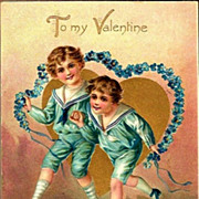 Vintage Postcard Tucks Valentine Greetings Boys and Forget-me-nots