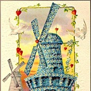 Vintage Post Card Greetings Floral Forget-me-not Windmill and Doves