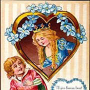 Vintage Post Card Valentine Greetings Princess, Minstrel and Forget-me-nots