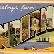 Vintage Post Card Large Letter Greetings Indiana