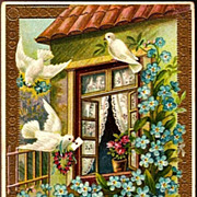 REDUCED Vintage Post Card Greetings Doves, Roses and Forget-me-nots
