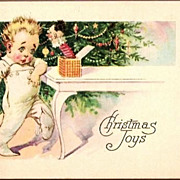 Vintage Post Card Christmas Greetings Child with Dog and Toys