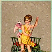 REDUCED Vintage Post Card Valentine Greetings Cupid and Hearts