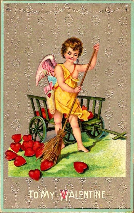 Vintage Post Card Valentine Greetings Cupid and Hearts