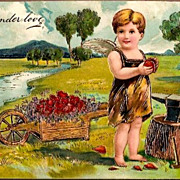 Vintage Post Card Valentine Greetings Cupid, Anvil and Hearts