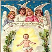 Vintage Post Card Christmas Greetings Angels with Baby Jesus
