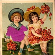 REDUCED Vintage Post Card Silk Greetings Boy and Girl with Hats and Flowers