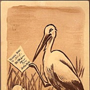Vintage Post Card Greetings Stork with Baby