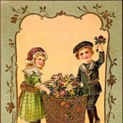REDUCED Vintage Post Card Birthday Greetings Girl and Boy in Hats
