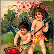 Vintage Post Card Valentine Greetings Cherubs Netting Hearts