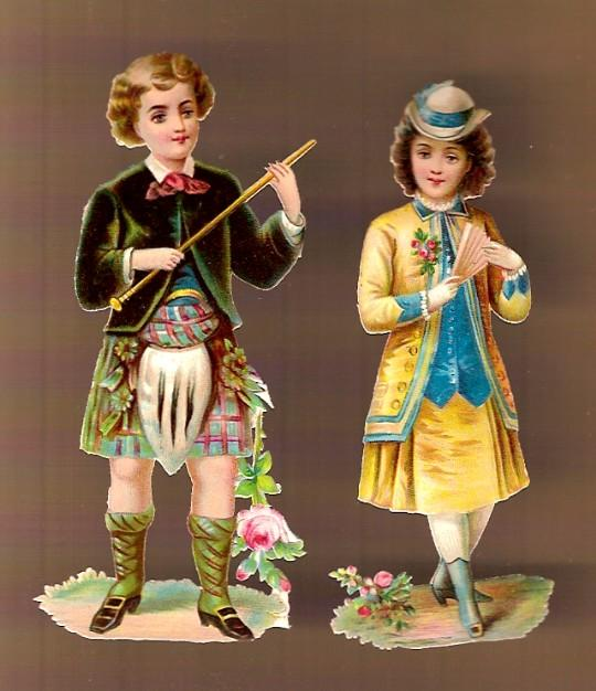 Vintage Victorian Die Cuts Scottish Boy and Girl (2)