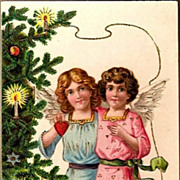 REDUCED Vintage Post Card Christmas Greetings Angels with Tree