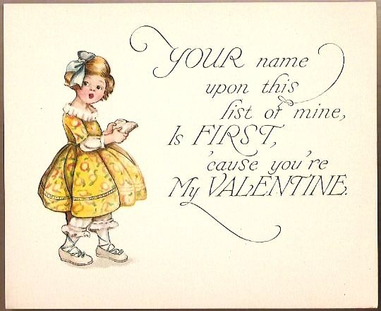 Vintage Valentine Album Card Girl with Sentiment