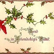 Vintage Victorian Greeting Card Holly with Red Berries