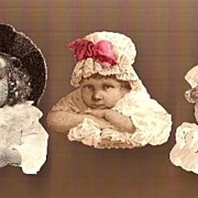 REDUCED Vintage Victorian Cut Out Scraps Two Girls and a Clown in Hats (3)