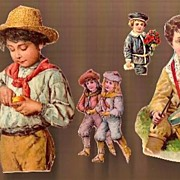 Vintage Victorian Scrap Cut Outs (5) Boys at Play