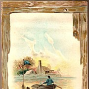 Vintage Advertising Trade Card J. P. Barstow & Co. Man in Boat and Scene