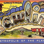 Vintage Post Card Large Letter Greetings Rawlins, Wyoming