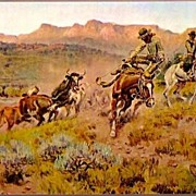 Vintage Post Card Western Artist Signed Cowboys at Roundup