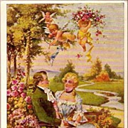 REDUCED Vintage Post Card Artist Signed Valentine Greetings Gentleman and Lady with Doves