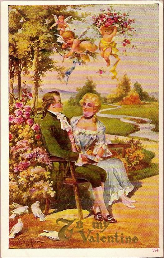 Vintage Post Card Artist Signed Valentine Greetings Gentleman and Lady with Doves