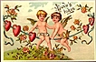 Vintage Post Card Valentine Greetings Cherubs with Roses and Hearts