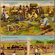 Vintage Post Cards Western Cowboys with Cattle (2)