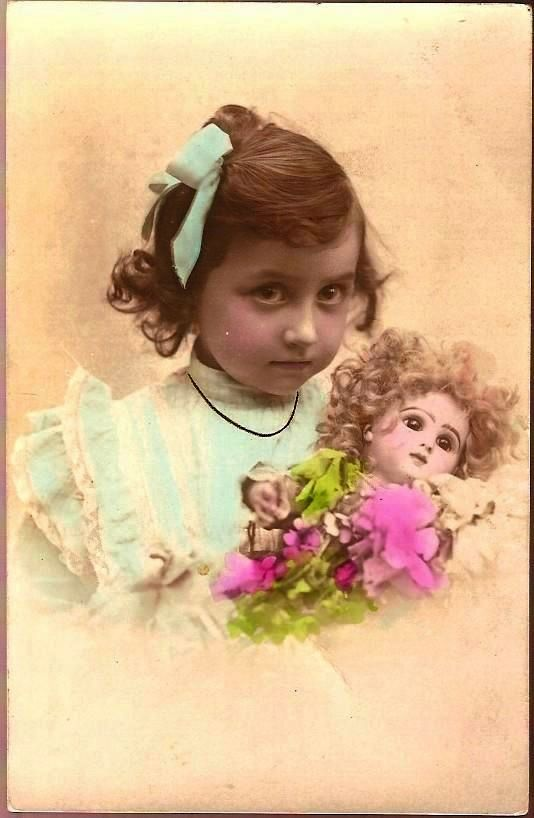 Vintage Post Card Real Photo Tinted Girl in Blue with Bisque Head Doll