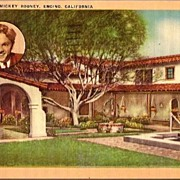 Vintage Post Card Hollywood Home of Actor Mickey Rooney