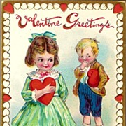 Vintage Post Card Valentine Greetings Girl and Boy with Hearts