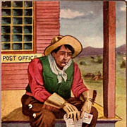 REDUCED Vintage Post Card Western Art Cowboy with Letter
