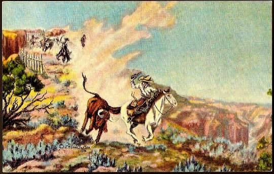 Vintage Post Card Artist Signed Western Cowboys with Cattle