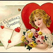 Vintage Post Card Valentine Greetings Girl with Hearts and Roses