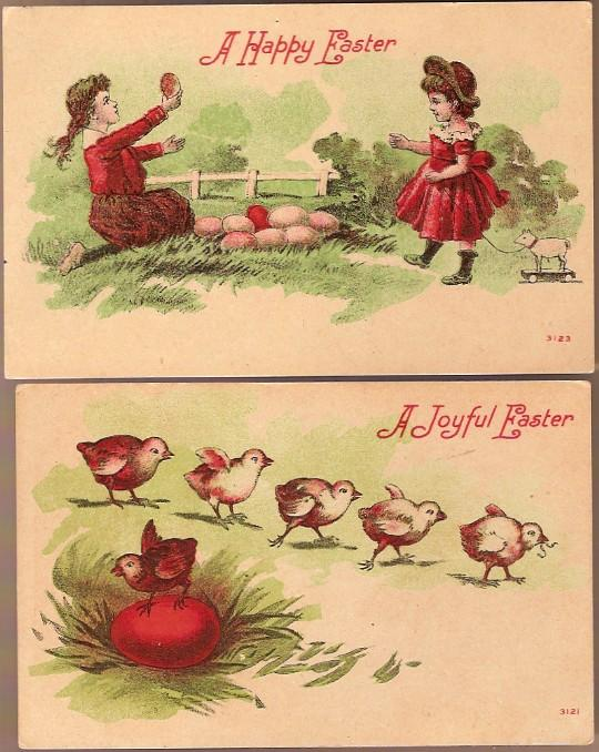 Vintage Post Cards (2) Easter Greetings Girls with Eggs and Chicks