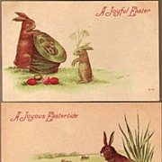 Vintage Post Cards (2) Easter Greetings Rabbits with Eggs and Hat