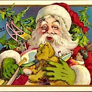 Vintage Post Card Christmas Greetings Santa with Toys