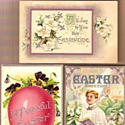 Vintage Post Cards (3) Easter Greetings Choir Boy, Egg and Lilies