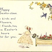 Vintage Post Card Easter Greeting Girl in Bonnet with Birds and Flowers