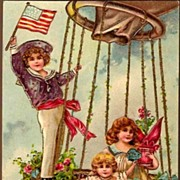 REDUCED Vintage Post Card Birthday Greetings Children in Hot Air Balloon with Roses
