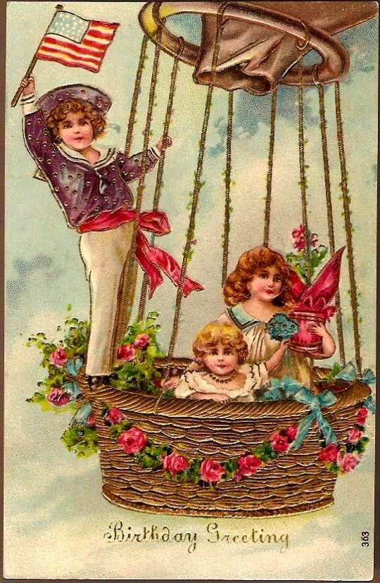 Vintage Post Card Birthday Greetings Children in Hot Air Balloon with Roses