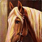 REDUCED Vintage Post Card Tucks Oilette Artist Signed Horse with Blond Mane