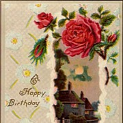 Vintage Post Card Birthday Greetings Roses with Moonlight Scene