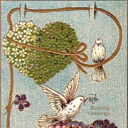 Vintage Post Card Birthday Greetings Floral Hearts with Doves