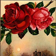 REDUCED Vintage Post Cards Greetings Roses with Church Scene
