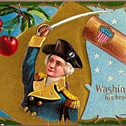 Vintage Post Card Patriotic George Washington his Bravery