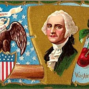 Vintage Post Card Patriotic George Washington, Eagle and American Union Jack